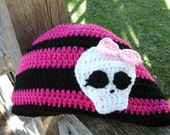 Crochet Monster Brights Hat.  Girls size 8-12 in Bright Pink and Black.  Also available custom color and size.