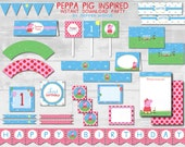 Peppa Pig {Inspired} Instant Download Party - Peppa Pig Birthday, Mummy Daddy Pig, Peppa Pig Printables - Print at home PDF Files