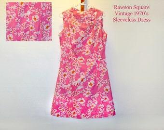 Rawson Square Vintage Dress/ Summer Dress/ Sleeveless Dress/ Hot Pink Dress/ Hippie Dress/ Rockabilly Dress/ Retro