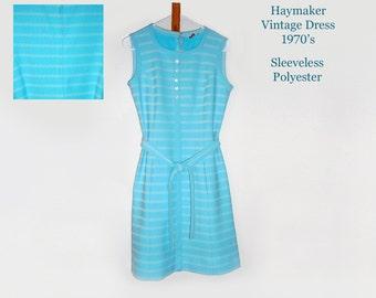 Haymaker/ Vintage Dress/ Summer Dress/ Sleeveless Dress/ Turquoise Dress/ Hippie Dress/ Rockabilly Dress/ Retro