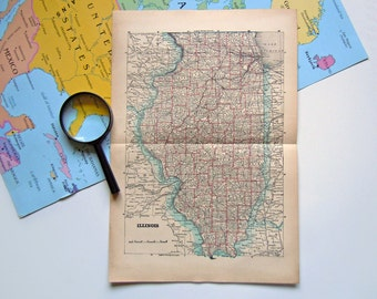 Vintage Map of Illinois | Victorian 1910 US Illinois Map
