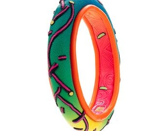 Colorful Fashion Bangle Bracelet, Color Pop Polymer Clay