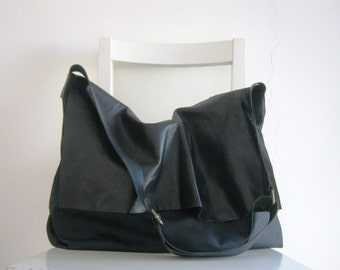 Leather and Canvas Slouchy Messenger in Black