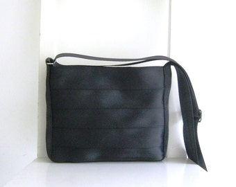 Seat Belt Small Messenger in Black