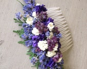 Dried flower hair comb made and shades of blue and lavender. For your wedding or special occasion.