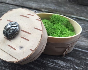 Little birch bark covered oval wood box with moss and vintage button.  Nice ring gift box.