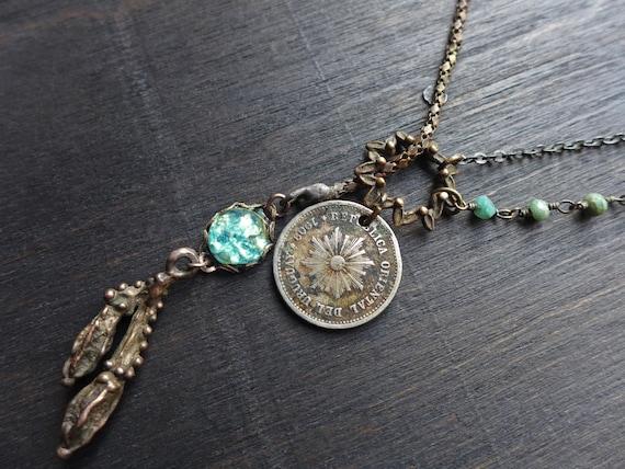 Shinrin-yoku. Delicate rustic lariat necklace, handmade artisan jewelry.