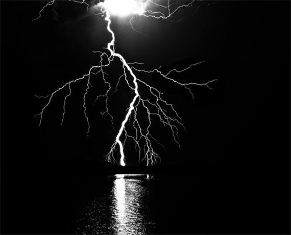 lightning over ocean black and white printable art graphics images png clip art Digital Download weather elements storm seascape printables