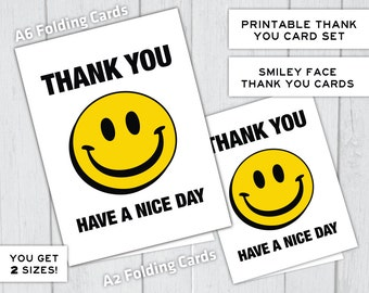 Thank You Smiley Face Grocery Bag Have a Nice Day Instant Download Printable Thank You Card Set, 2 Sizes of Cards, Fun, Happy, Cute, Vintage