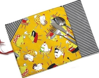 Lunch placemat / cutlery pocket RTS, roll up reusable portable cloth mat cotton fabric office school teacher adult child kid boy girl kids