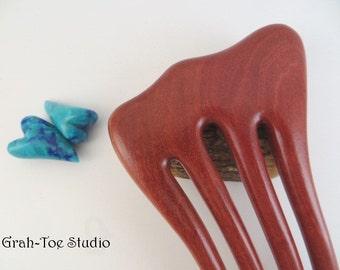 Hair Fork Wood,4  Prong Lili Threnody, Blood Wood ,Hairfork, Wood Hair Fork, Grahtoe Studio, Handmade Art,Woman Gift