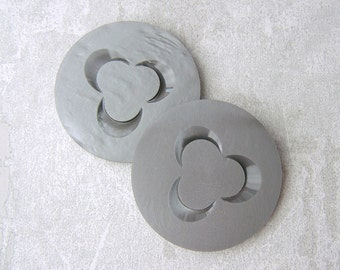 HuGE Vintage Shank Buttons 37mm - 1 3/8 inch Carved Cloud Gray Mod Flower Buttons - PAiR of 2 VTG Marbled Silvery Grey Plastic Buttons PL247