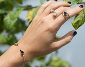 Onyx cage ring, stone ring, thin // ECLIPSE RING
