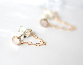 Moonstone, chain studs, tiny studs, stud earrings, 14k gold, brass, sterling silver // APOLLO STUDS