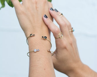 open cuff, onyx, bracelet, thin cuff, adjustable, stacking, stone, bezel, dainty, tiny, delicate // IN ORBIT CUFF
