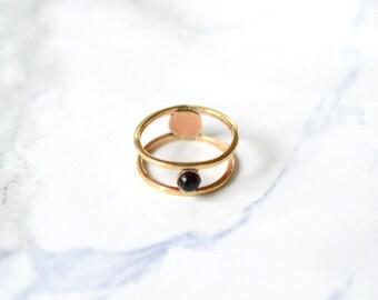 midi ring, onyx, cage ring, stone ring, thin // ECLIPSE MIDI RING