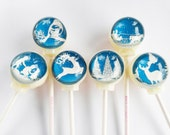 6 flavor paper cut out style lollipops