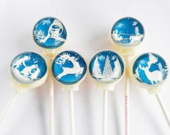 6 flavor paper cut out style lollipops