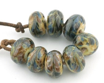 Gaia Handmade Glass Lampwork Beads (8 count) by Pink Beach Studios - SRA (1238)