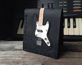 Hand Stitch Men Wallet Bass Guitar Colored Black