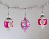 Vintage Glass Indent Ornaments Set of 3
