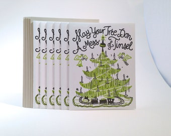 "30 pack Christmas ""Mess of Tinsel"" Letterpress Card"