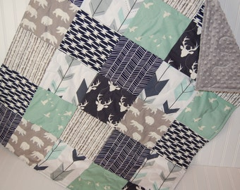baby quilt- baby boy quilt-minky baby quilt- mint baby quilt- navy baby quilt- baby bedding- arrow baby quilt- woodland baby bedding
