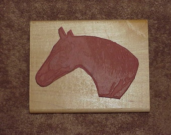 Large--HORSE Head--Rubber Stamp--Wood Mounted