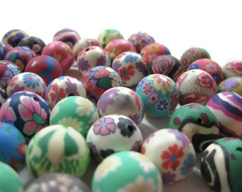 15mm Round Polymer Clay Beads Assorted Variety 100 pieces (A)