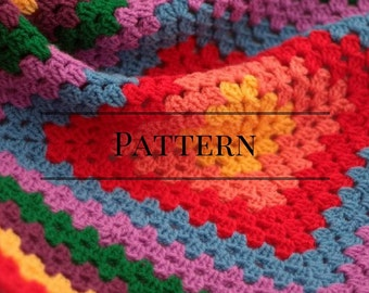 Granny Square baby afghan red, Rainbow granny square baby blanket