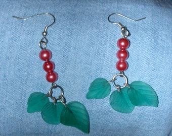 Earrings of Green Glass Leaves and Blood Red Orange Berry Beads