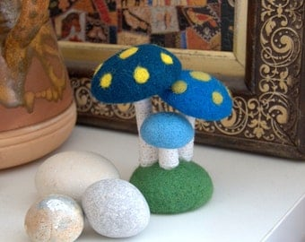 3 blue Mushrooms on the green hill felted wool crochet Alice in Wonderland party decoration red white dot toadstools woodland nursery decor
