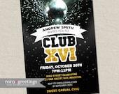 Disco Club Invite or Sweet 16 Birthday Party Invitation - gold foil teen disco ball invitation (DIY Printable Digital File)