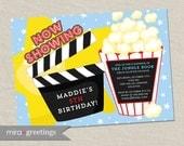 Movie Birthday Party Invitations - Movie Night Birthday Invite - Theater birthday celebration (Printable Digital File)