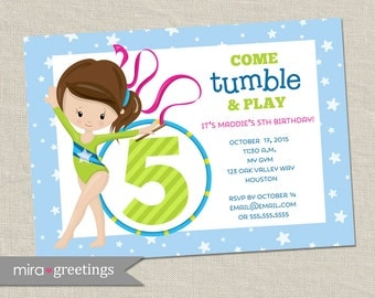 Gymnastics birthday party invitation - tumbling party - gymnastics invite - my gym party(Printable Digital File)