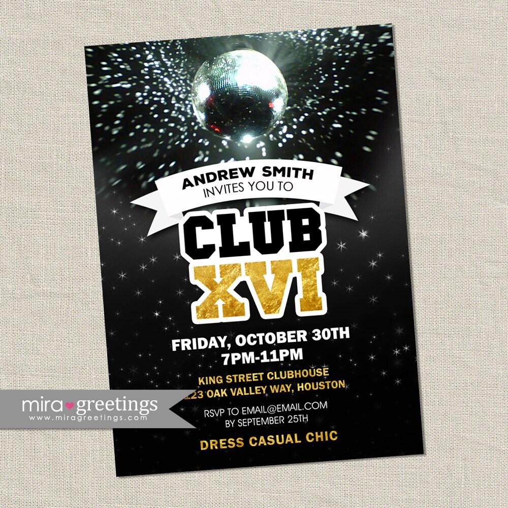 Disco Club Invite or Sweet 16 Birthday Party Invitation - gold foil ...