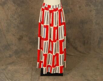 vintage 70s Maxi Skirt - 1970s Op Art Long Skirt Avant Garde Maxi Sz M