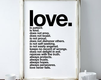 Love Is Patient - A4 Print. Modern quote scripture (in Classic Black and White)