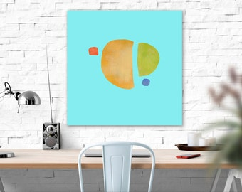 Minimalist Abstract Shapes Canvas Print, Large Giclee Print, Apartment Decor, Modern Art, Melon Art, Summer Art, Interior Design