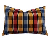 Lodge Pillow Covers, Plaid Lumbar Pillows, Country Throw Pillows, Red Blue Gold Plaid Pillow Cushions, 12x18