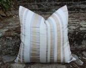 Striped Gold Silver Pillows, Metallic Stripes on Textured Linen Oatmeal, Contemporary, Mens, Designer Pillow Covers, 18x18, 20x20