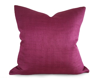 Textured Fuchsia Pillow Cover, Magenta Pillow, Solid Red Purple Pillows, Fall Pillow, Jewel Tone, Herringbone Pillow 12x18 18x18 20x20 16x26