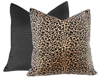 Textured Leopard Pillow Covers, Exotic Animal Print Pillow, 14x20 Lumbar Pillow,  Leopard Spots, Tan Black Brown Cushion Cover