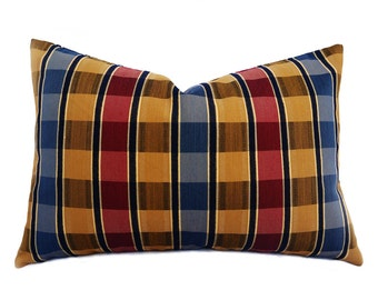 Red Blue Gold Pillow Covers, Blue Gold Plaid Pillows, Blue Red Lumbar Pillow, Mens Accent Pillow, 12x18 Oblong Cushion, Pillowthrowdecor