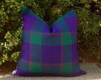 Green Purple Plaid Pillow Cover, Wool Plaid Throw Pillow, Tartan Plaid Cushion Cover, Vibrant Jewel Tones Pillow, 18x18