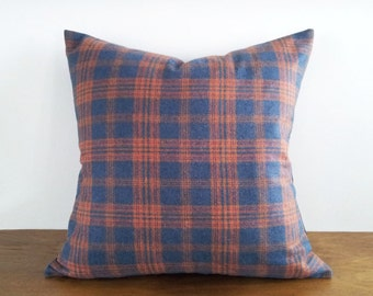 Rustic Plaid Pillow, Blue Wool Pillow, Blue Rust Plaid Pillow Covers, Mens Throw Pillows, Cabin Decor, 12x18 Lumbar Pillow, 14x18, 20x20