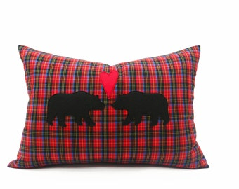 In Love Bears Pillow Cover, Rustic Engagement Pillow Cover, Bears Hearts Plaid Cushion, Appliqued Animal Pillows, Woodland Chic 14x20 Lumbar