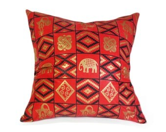 Tribal Pillows, Wax Print Pillow Covers, Graphic, Red Throw Pillow, African Pillows, Red Black Gold Pillows, Elephants,  20x20, 50x50 cm