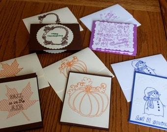 Note Card Assortment -- Original Handmade -- Set of 5 -- FREE SHIPPING