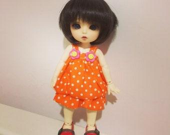 Orange and white dot dot dress for Lati Yellow or Pukifee